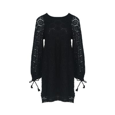 tassel point lace dress black